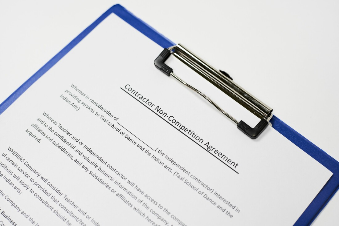 Non-Compete Agreement Contract Clipboard