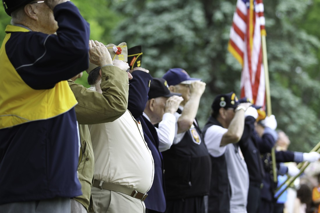 Elderly Veterans Saluting