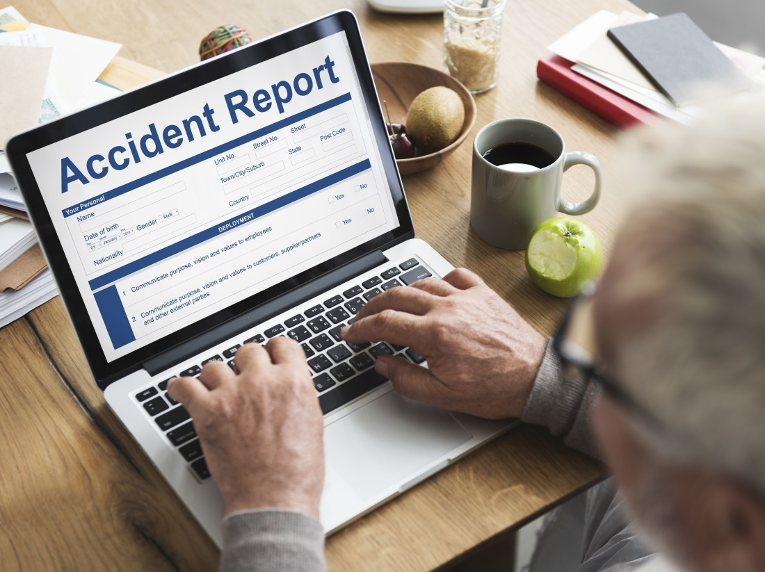 Accident Report on Laptop