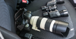 Camera Equipment on Car seat