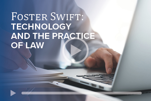 Tech and the Practice of Law text on blue graphic